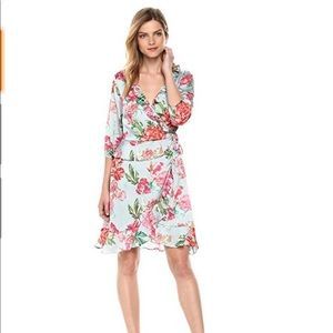 Ella Moon floral satin wrap dress large NEW